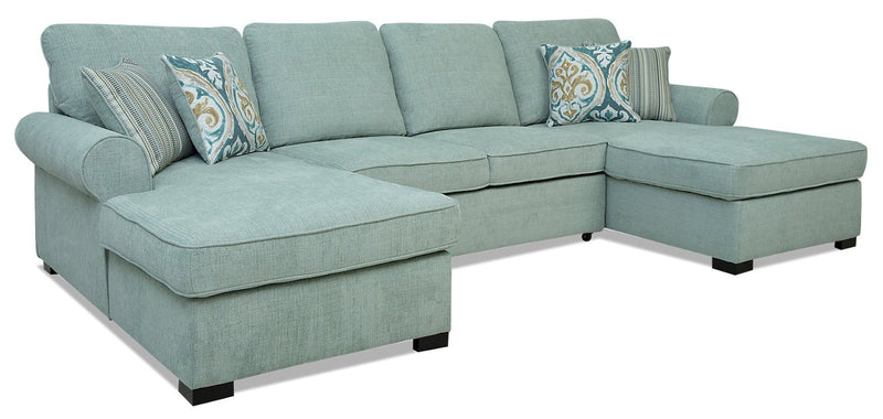 Larochelle 3-Piece Fabric Sleeper Sectional with 2 Storage Chaises - Seafoam