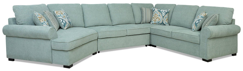Larochelle 4-Piece Fabric Left-Facing Sleeper Sectional with Cuddler - Seafoam