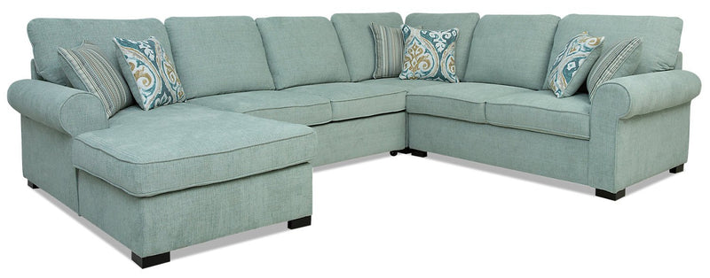 Solera 4-Piece Fabric Left-Facing Sleeper Sectional with Storage Chaise - Seafoam