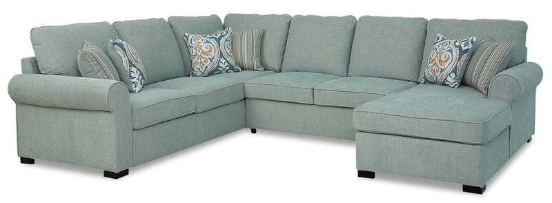 Solera 3-Piece Fabric Right-Facing Sleeper Sectional with Storage Chaise - Seafoam