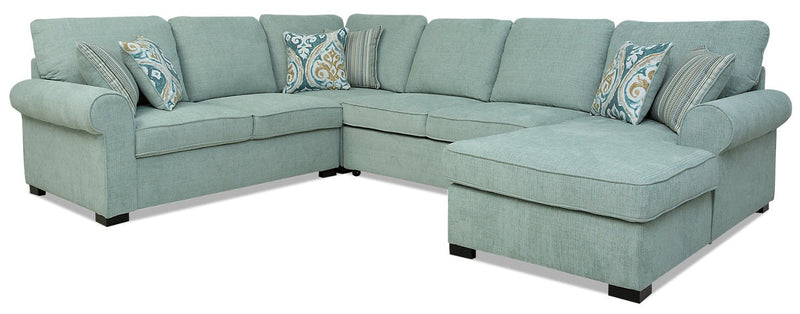 Solera 4-Piece Fabric Right-Facing Sleeper Sectional with Storage Chaise - Seafoam