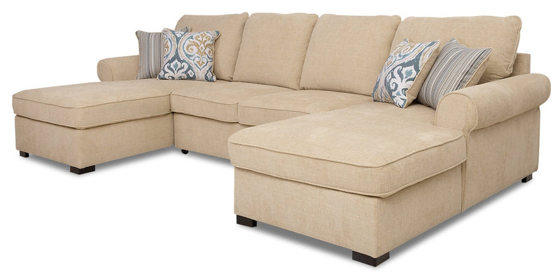 Solera 3-Piece Fabric Sleeper Sectional with 2 Storage Chaises - Taupe