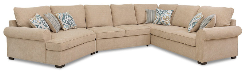 Solera 3-Piece Fabric Left-Facing Sleeper Sectional with Cuddler - Taupe