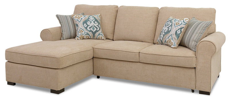 Solera 2-Piece Fabric Left-Facing Sleeper Sectional with Storage Chaise - Taupe