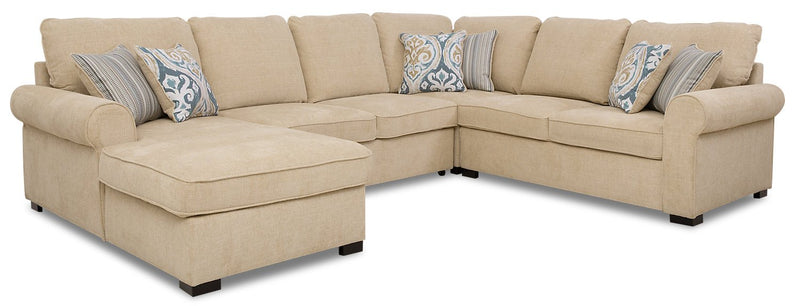 Larochelle 4-Piece Fabric Left-Facing Sleeper Sectional with Storage Chaise - Taupe