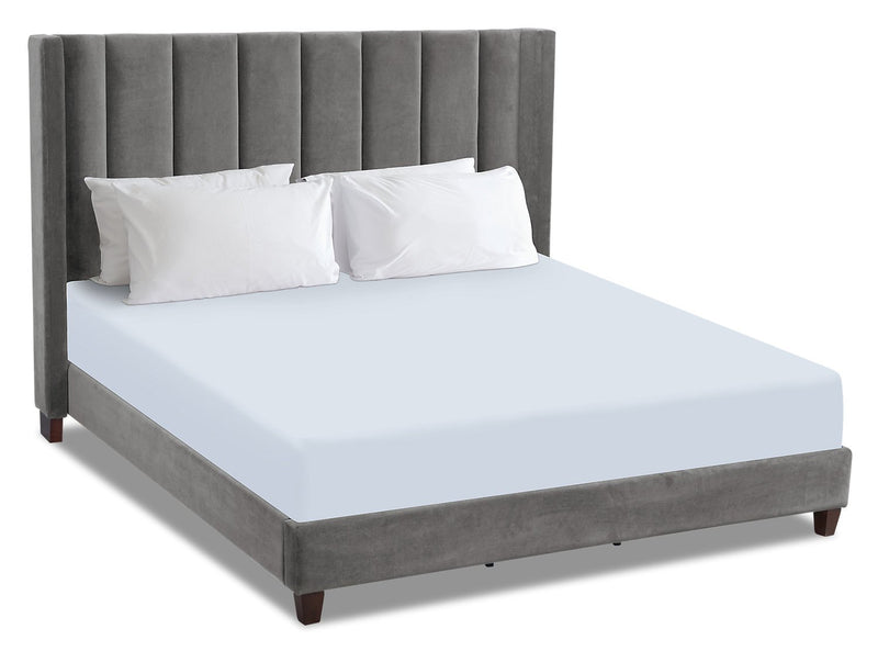 Chiasson Velvet King Bed - Grey
