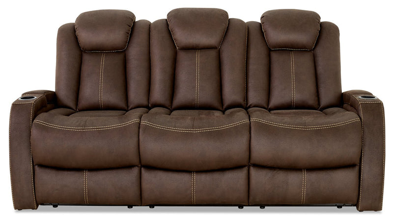 Terrell Faux Suede Power Reclining Sofa - Chocolate