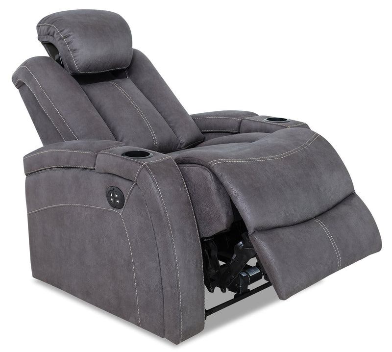Terrell Faux Suede Power Reclining Chair - Pewter