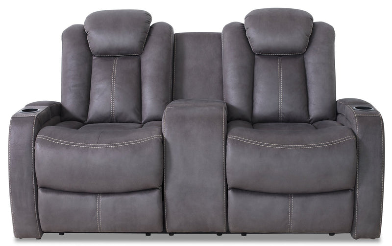 Terrell Faux Suede Power Reclining Loveseat - Pewter