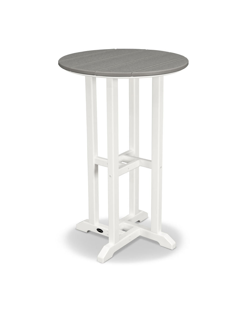 "POLYWOOD® Contempo 24"" Round Counter Table in White/Slate Grey"