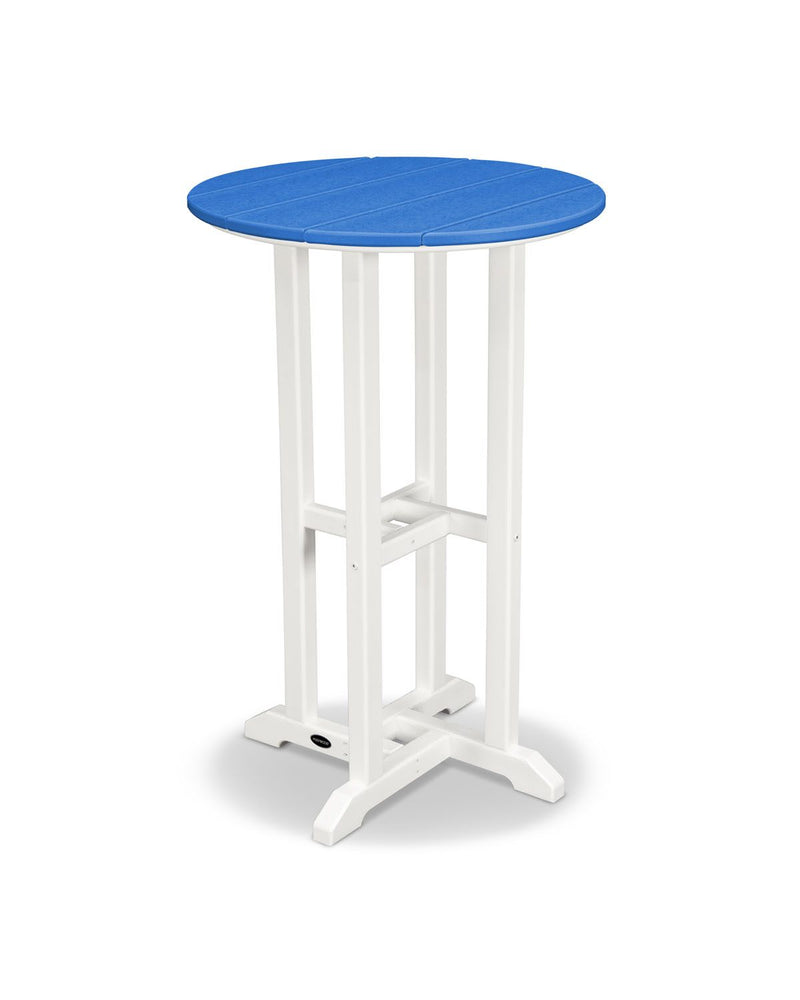 "POLYWOOD® Contempo 24"" Round Counter Table in White/Pacific Blue"