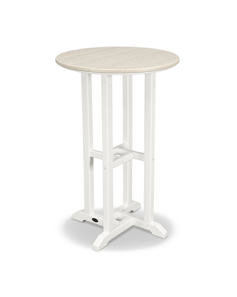 "POLYWOOD® Contempo 24"" Round Counter Table in White/Sand"