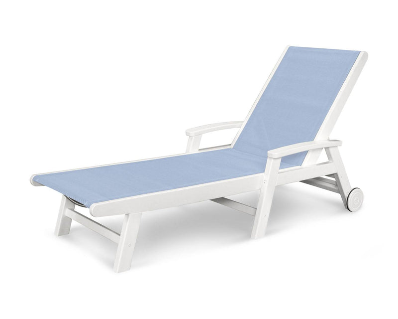 POLYWOOD® Coastal Wheel Chaise in White/Pool Side