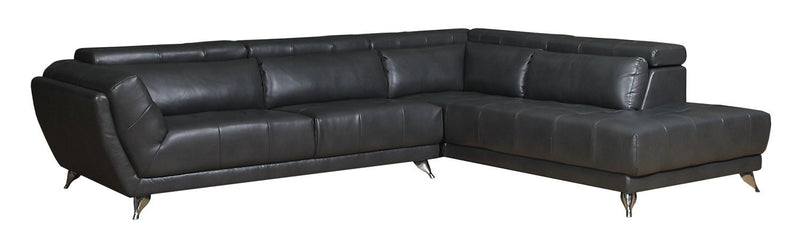 Mendieta 2-Piece Leather-Look Fabric Right-Facing Sectional - Grey