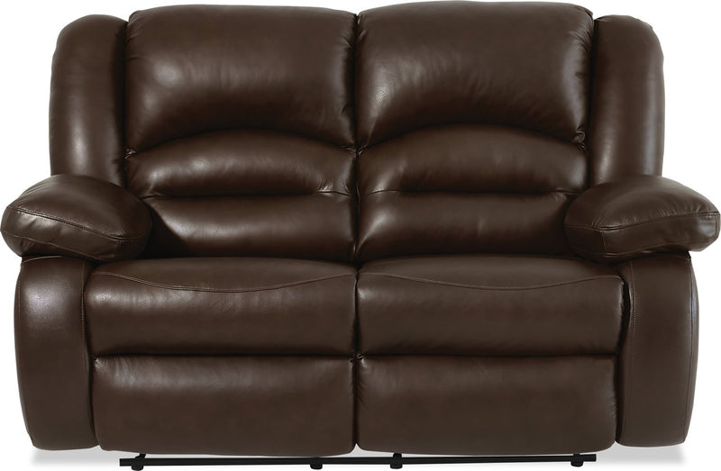 Sandford Genuine Leather Power Reclining Loveseat - Brown