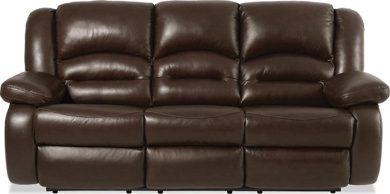 Sandford Genuine Leather Reclining Sofa - Brown