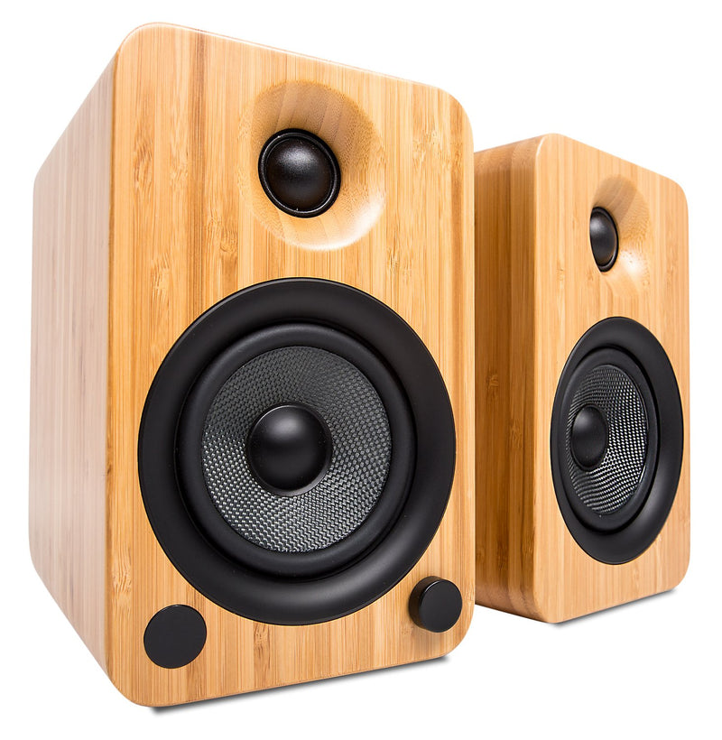 Kanto YU4 Powered Bluetooth Bookshelf Speakers with Phono Preamp for Turntable - YU4BAMBOO