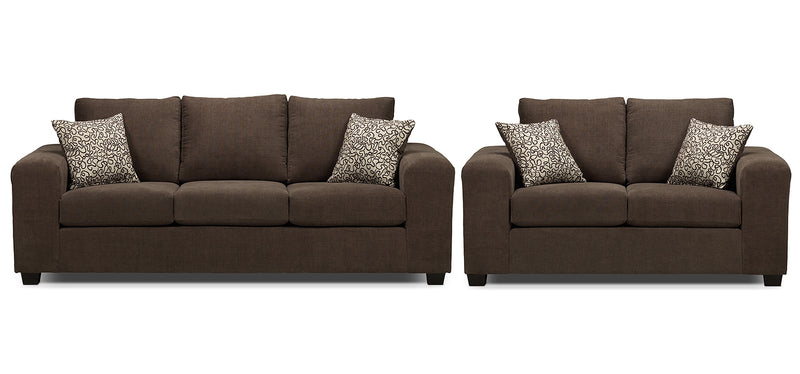 Knox Sofa and Loveseat Set - Light Brown