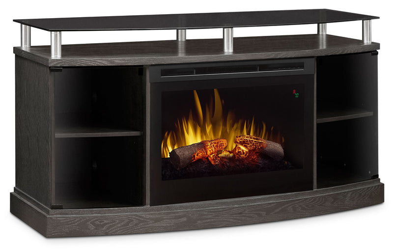 "Wilton 53"" TV Stand with Log Firebox - Silver"