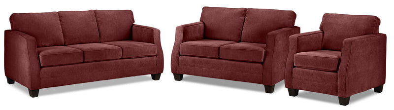 Chelsea Sofa, Loveseat and Chair Set - Merlot