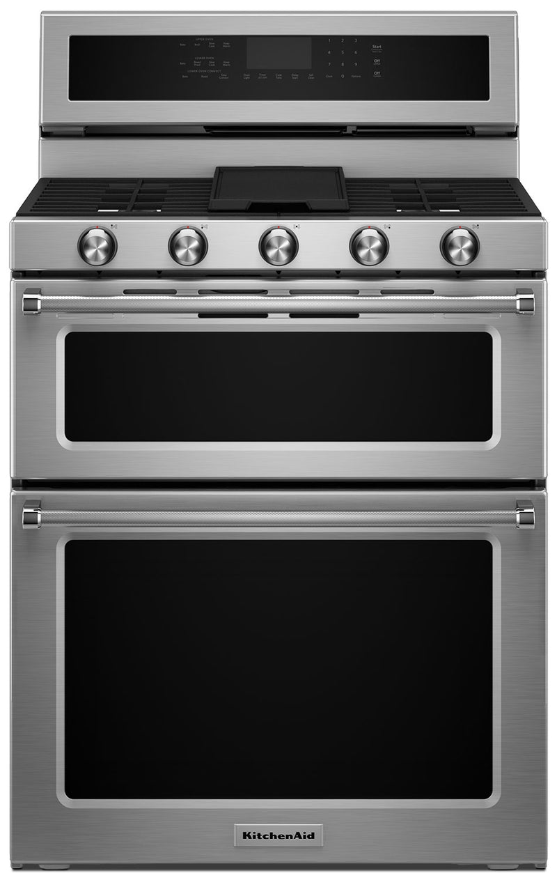 KitchenAid Stainless Steel Dual-Fuel Double Convection Range (6.7 Cu. Ft.) - KFDD500ESS
