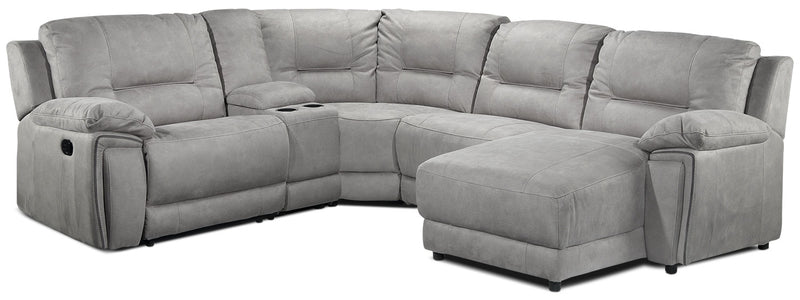 Halcyon 5-Piece Reclining Sectional with Right-Facing Chaise - Light Grey