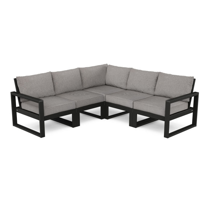 POLYWOOD® EDGE 5 Pc Modular Deep Seating Set - Black / Grey Mist