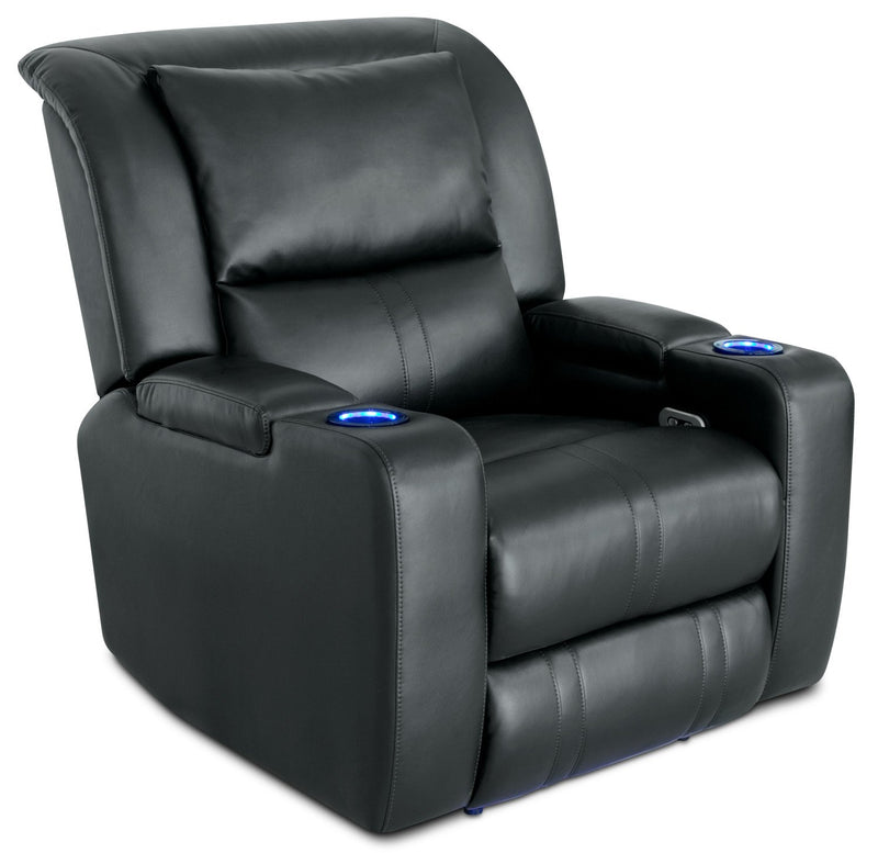 Stambrugh Leather-Look Fabric Power Recliner with Power Headrest - Black