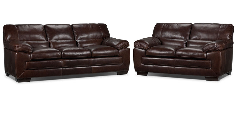 Redmond Sofa and Loveseat Set - Brown