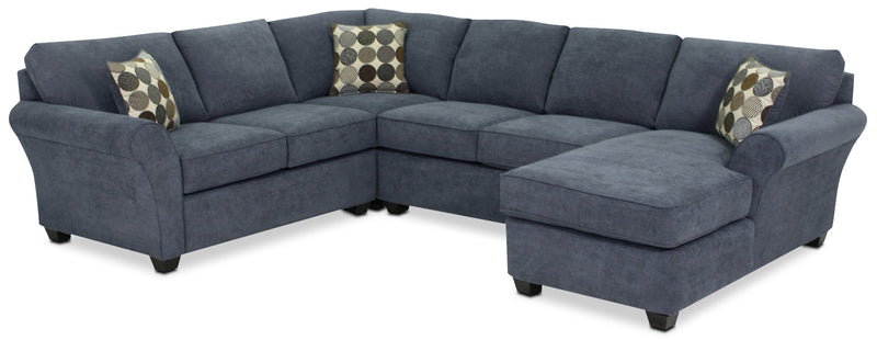 Eckel 4-Piece Sectional with Right-Facing Chaise - Navy
