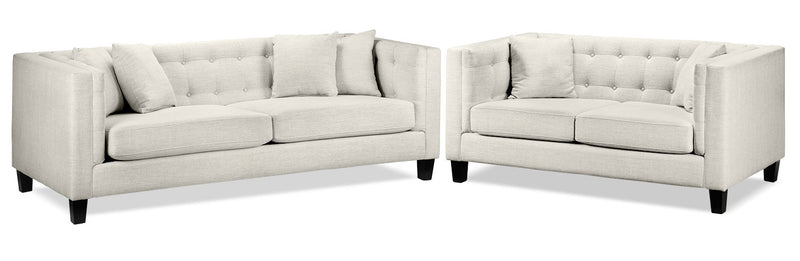 Arbor Sofa and Loveseat Set - Wheat