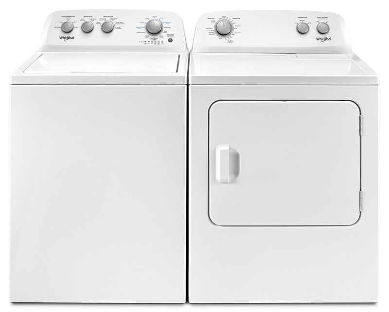Whirlpool 4.4 Cu. Ft. I.E.C. Top-Load Washer and 7.0 Cu. Ft. Gas Dryer – White