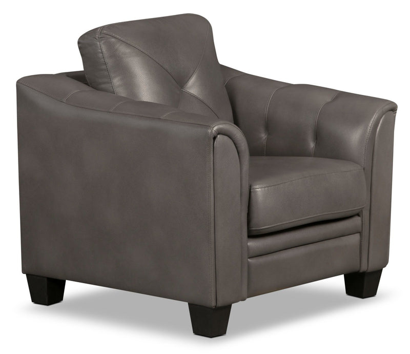 Henrick Leather-Look Fabric Chair – Grey