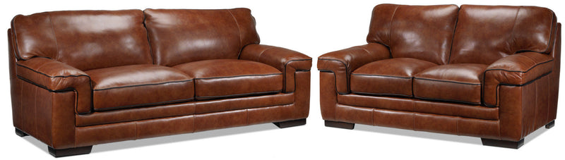 Colten Sofa and Loveseat Set - Brown