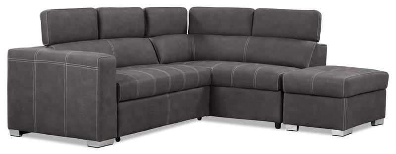 Foynes 3 pc. Faux Suede Right-Facing Sectional with Sofa Bed - Cement