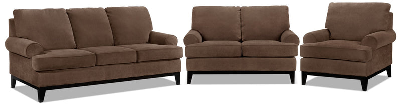 Casons Sofa, Loveseat and Chair Set - Coffee
