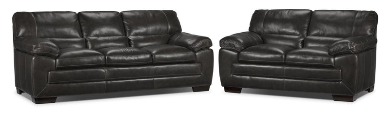 Redmond Sofa and Loveseat Set - Charcoal