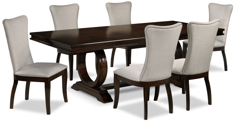 Colas 7-Piece Dining Room Set - Cherry and Beige