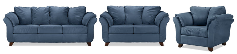 Breton Sofa, Loveseat and Chair Set - Cobalt Blue