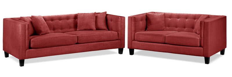 Arbor Sofa and Loveseat Set - Red