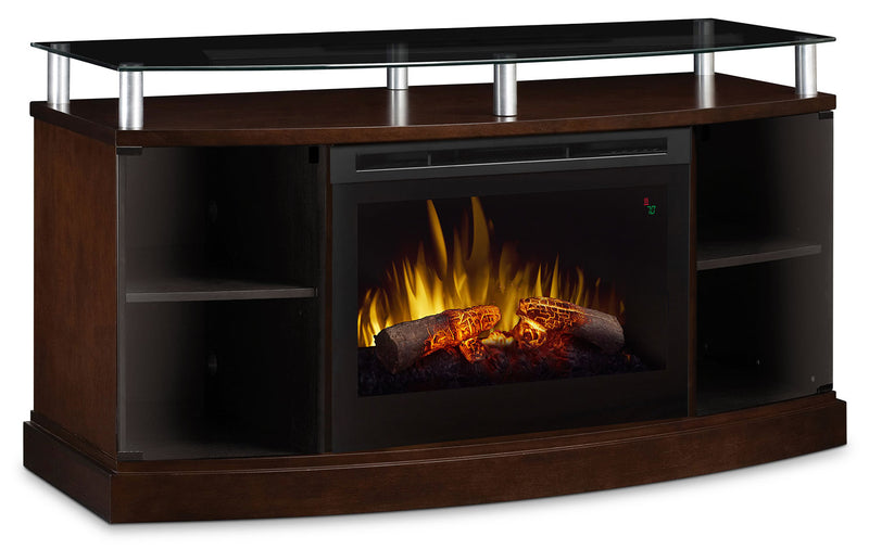 "Wilton 53"" TV Stand with Log Firebox - Mocha"