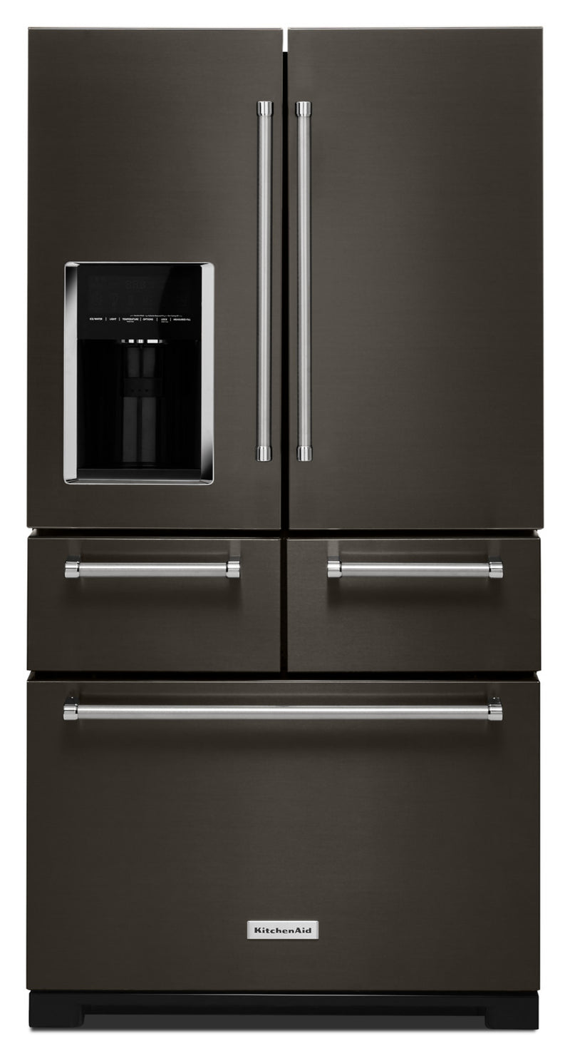 KitchenAid Black Stainless Steel French Door Refrigerator (25.8 Cu. Ft.) - KRMF706EBS