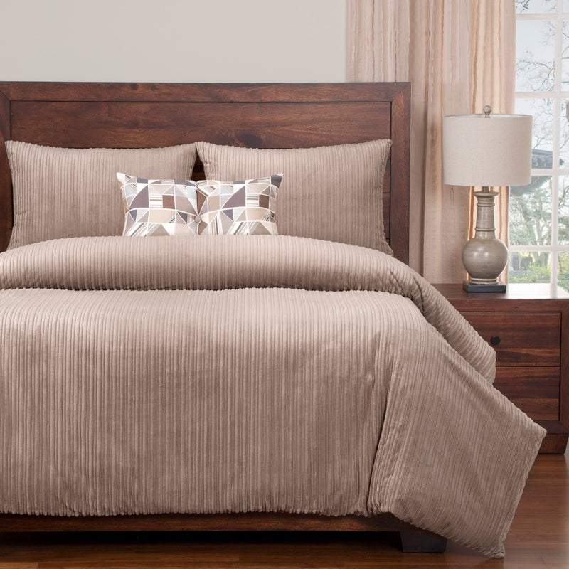 Leif Taupe 4-Piece King Duvet Cover Set