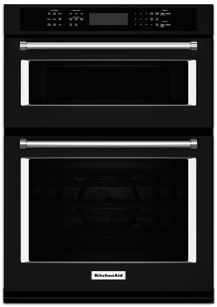 "KitchenAid 30"" Double Wall Oven with Microwave and Conventional Oven – KOCE500EBS"
