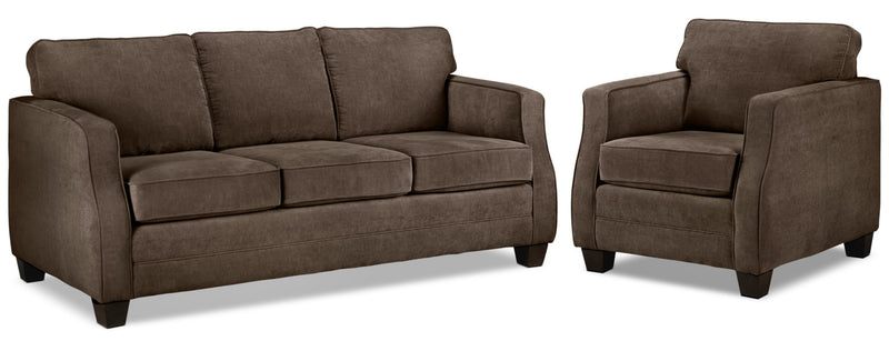 Chelsea Sofa and Chair Set - Chocolate
