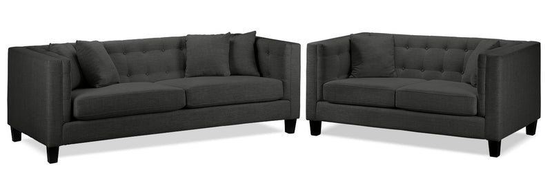 Arbor Sofa and Loveseat Set - Dark Grey