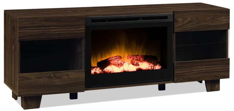 "La Mirada 62"" TV Stand with Log Firebox - Elm Brown"