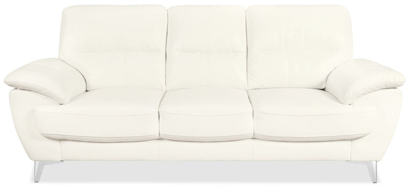 Protter Leather-Look Fabric Sofa - Snow