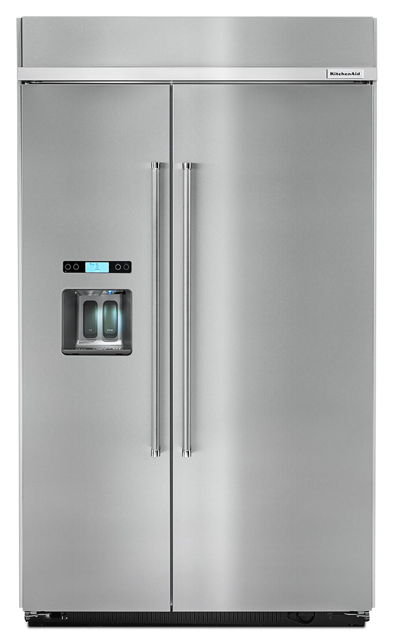 KitchenAid 29.5 Cu. Ft. Built-In Side-by-Side Refrigerator - KBSD608ESS