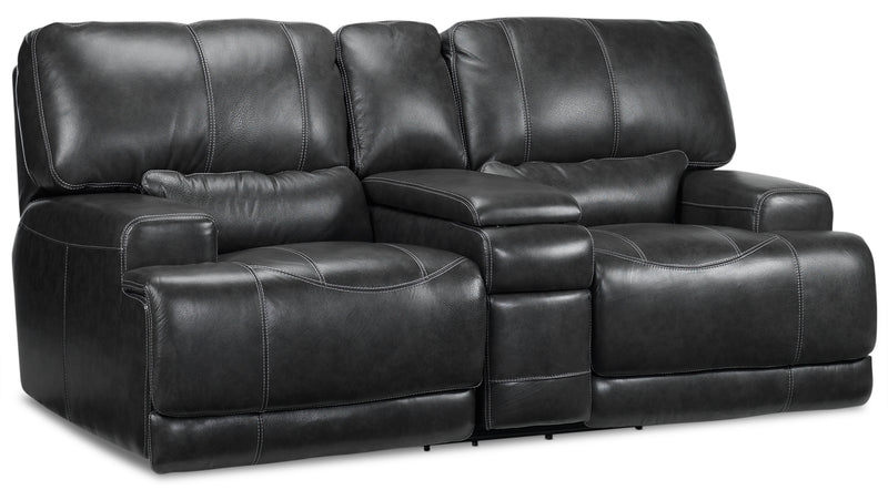 Tiernan Power Reclining Loveseat with Console - Charcoal